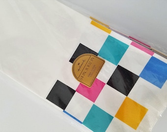 Vintage Hallmark Paper Tablecloth Colored Geometric Squares