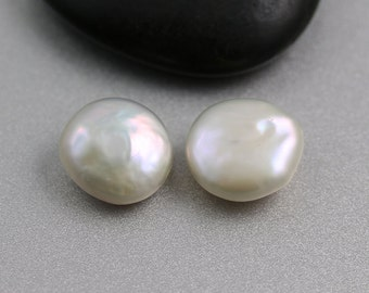 Freshwater Coin Pearls - 14mm - Coin Pearls - Bead Pair