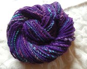 Wild Violets handspun worsted weight yarn with added silk and alpaca, 95 yards