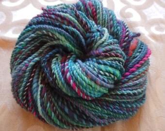 Blue Fuschia Flourish handspun art yarn with merino, angora, sparkle and alpaca locks, 100 yards