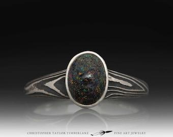 Mokume Gane 14K Palladium White Gold and Sterling Silver Opal Ring