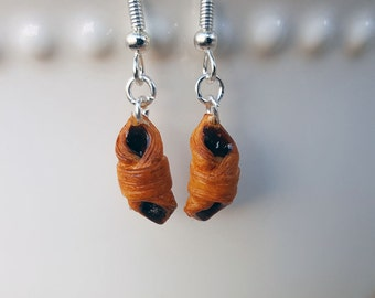 Chocolate Croisssant Earrings - Food Jewelry - Baker Gifts