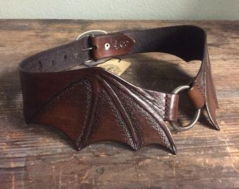 Sz 30 waist SAMPLE Sale Bourbon Bat Wings Tooled Leather Waist Sized Buckle Back Belt