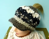 Messy Bun Ponytail Chunky Brim Hat Ready to Ship