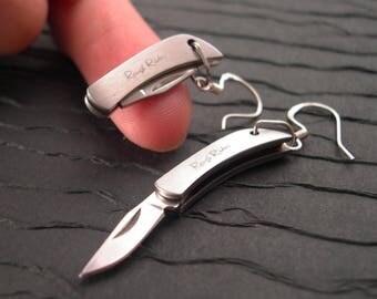 Knife Earrings - Working Sharp Tiny Folding Knives with Sharpener