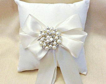 White Ring Bearer Pillow - Ring Pillow - Ring Cushion - Ringbearer Pillow - Pearl Ring Pillow - White Bridal Pillow  - 30 Colors Available