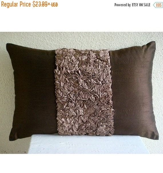 15% HOLIDAY SALE Decorative Oblong Lumbar Throw Pillow Cover Accent Pillow Couch Sofa 12x16 Inch Brown Silk Ribbon Embroidered Home Living C