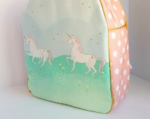Childrens Backpack, Kids Backpack, Toddler Backpack, Unicorn Parade