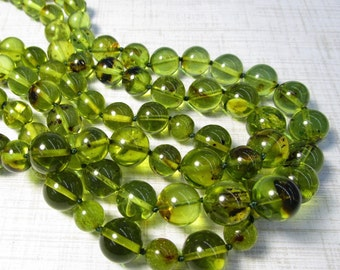 Rare Natural Green Amber Beads Round 8mm 10mm 12mm, 18 inches Baltic Russian Gemstone, With Necklace Clasp