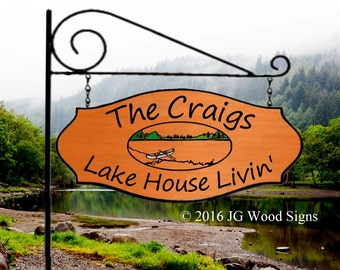 Canoe Lake XL Family Name Sign - Personalized sign with XL Sign Holder Custom Wood Sign Name Sign Wooden Sign Custom Sign Etsy Craig