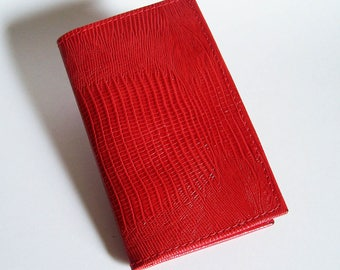 Red Leather Checkbook Cover - Bright Red Lizard Grain Leather