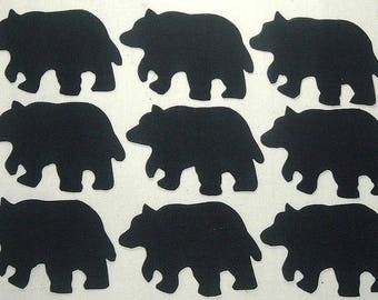 "Set of 9 Large 6""  Iron-on Lodge/Cabin Black Bear Fabric Appliques"