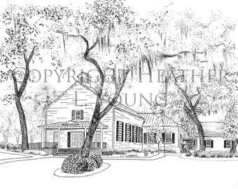 Isle of Hope Methodist Church Savannah Pen and Ink Black and White Print