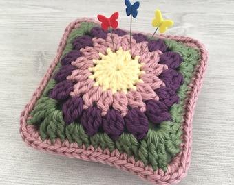 Crochet Pincushion • Granny Square • Crochet Flower Motif • Crochet Block • Mulberry, Rose, Yellow, & Green