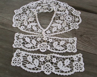 Antique Collar Cuffs Set, Punto en Aria Italian Handmade Lace Edwardian fashion accessory OOAK, white large collar