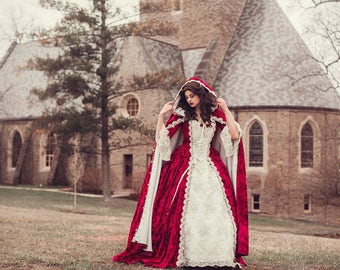 Belle Holiday Red Velvet Gown and Cape Medium
