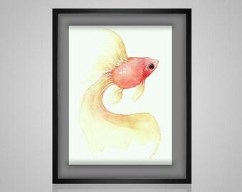 Cross Stitch Pattern watercolor goldfish koi pdf crossstitch tutorial modern crossstitch chart embroidery x stitch  INSTANT DOWNLOAD