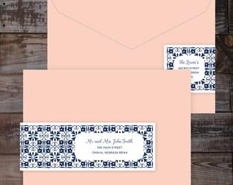 Address labels, wedding address labels, address labels wedding, wrap around labels, mailing labels, navy labels, recipient address labels