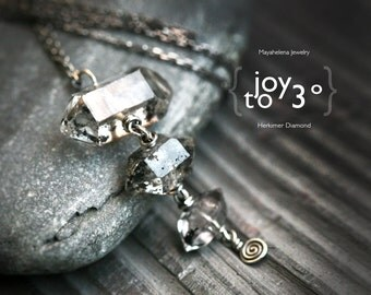 Joy to Third Degree - Three Double Pointed Moss Herkimer Diamonds Sterling Silver Pendant
