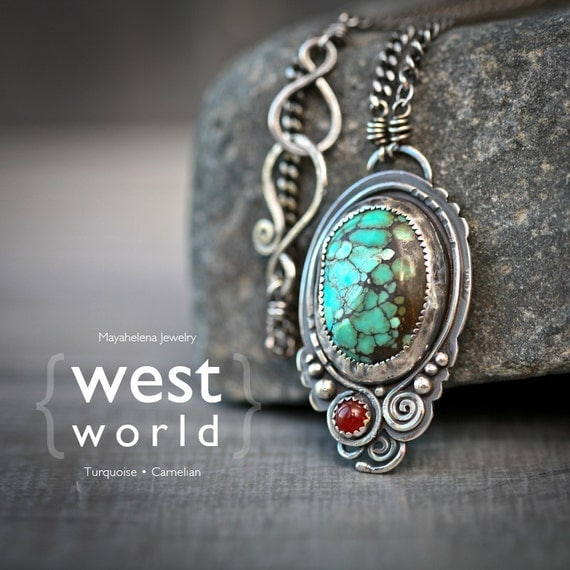 WestWorld - Spiderweb Turquoise and Carnelian Southwest Steampunk Sterling Silver Pendant