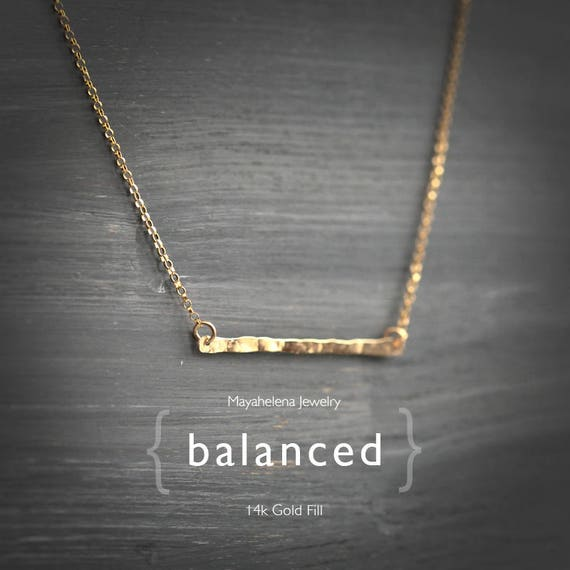 Balanced -Textured Skinny Bar 14k Gold Filled Necklace