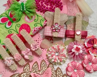 Inspiration Kit, Butterflies, Pink Shabby Supplies, Scrapbook, Paper Flowers, Butterfly Fabric, Mixed Media, Journal, Die Cuts, Clothes Pins