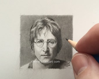 """miniature original pencil drawing done by me """"Lennon"""""""