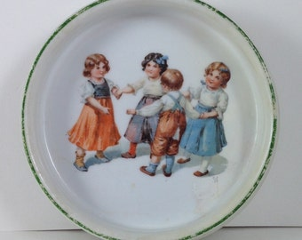 Very Sweet Antique Baby Dish, German, Alphabet Dish, Children Dancing