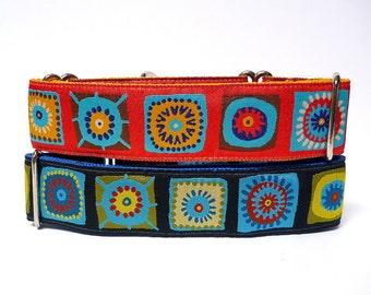 Martingale, Dog Collar, CARIBBEAN in yellow / gold or blue, Safety Collar, Greyhound Collar, Sighthound Collar, Adjustable