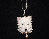 WESTIE sterling silver necklace, beaded West Highland White Terrier pendant dog jewelry/ Ready to Ship/ Free US Shipping