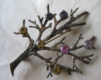 Family Birthstone Tree Sterling Gold Brooch Pink Yellow Purple Silver Rhinestone Vintage Pin 925 Vermeil