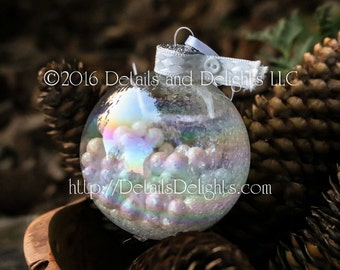 SALE!!! Snow Day Snowball White Glass Round Ornament, Winter Wedding Button Glitter, Crystal Bead Gem Christmas Holiday Tree Decor