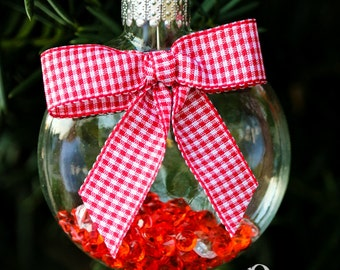 Red White Diamond Glass Disk Ornament, Satin Ribbon, Gingham Ribbon, Country Chic Woodland Hanging Christmas Holiday Tree Decor