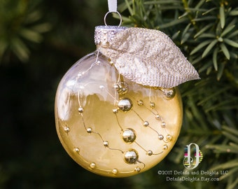 Classy Gold Beaded Wire Clear Glass Disk Ornament, Satin Ribbon, Silvery Gold Leaf Accent, Christmas Holiday Tree Hanging Decoration