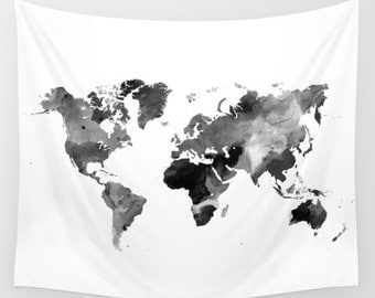 Wall Tapestry Wall Hanging Sofa Throw Design 42 World map black white gray grayscale Home Decor art L.Dumas