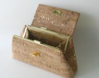 Cork Clutch - Natural with Gold Flecks - Front Flap Twist Lock Closure  - Silk Lining - Ecofriendly Vegan Bag - Ready to Ship