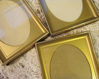 Set 3 Vintage Oval Gold Picture Frames Outer 6 x 8, Shipping only 9.99