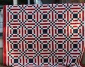 "Queen Size Quilt-Red White Blue Quilt-Patriotic Quilt-Handmade Quilt-Patchwork Quilt-Size 84"" x 84"""