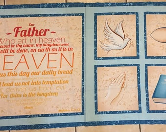Our Father Prayer Dove Praying Hand Bible 100% cotton fabric panel 23 in X 44 in by Quilting Treasures - smoke & pet free