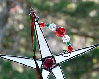 Stained Glass, Christmas Star, Red and White, Frosted Glass, with silver, decorative wire, crystal beads