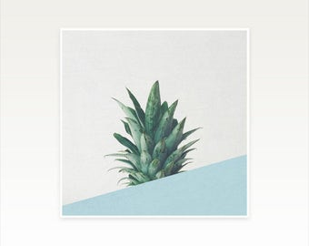 Pineapple Art, Tropical Fruit Print, Abstract Photography, Minimal Blue and Green Wall Decor - Pineapple Dip II