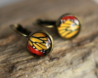Butterfly Wing Earrings, Colorful Wing Segment,  Glass Dome, Gold Yellow, Red, Monarch, Antiqued Brass, Under 10, Stocking Stuffer