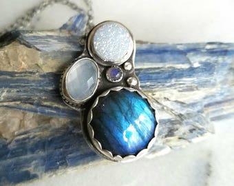 Blue Labradorite Pendant with Quartz Druzy and Moonstone
