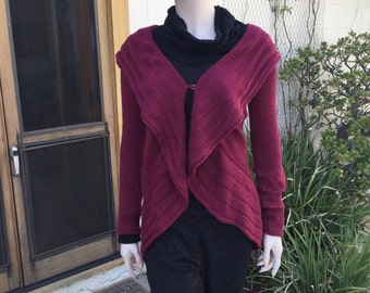 Red wine knitted alpaca sweater coat jacket cardigan with wrap collar