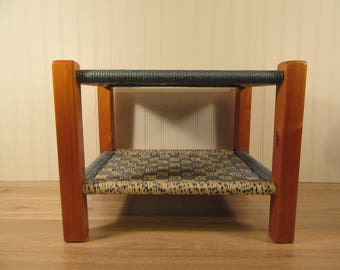 Wood stool with woven top and lower level with woven top- great design, solid, beautiful and functional
