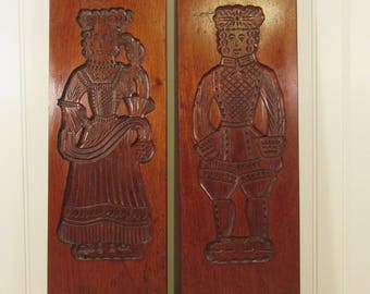 Reduced....Two solid wood decorative wall plaques with carved man and woman images- wall decor, home decor