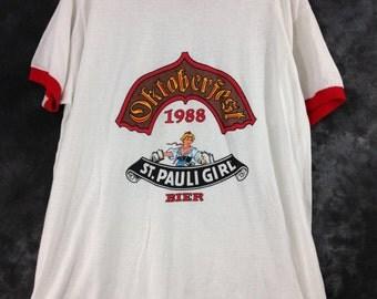 Vintage 1980's Oktoberfest St. Pauli Girl Bier Ringer T Shirt
