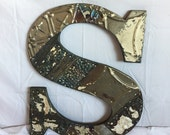 """1890's Reclaimed  Tin Ceiling Wrapped 16"""" Letter """"S"""" Patchwork Bare Metal Mosaic Wall Hanging 11-17i"""