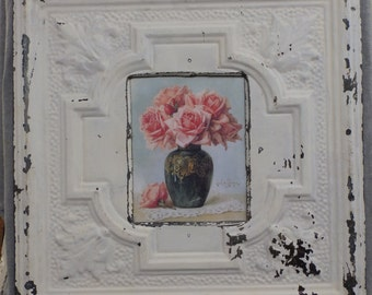 TIN CEILING White Metal Picture Frame 8x10 Shabby Recycled chic 530-16