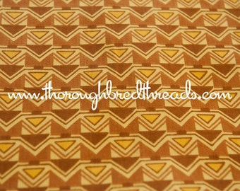 Fun Mod Geometric - Vintage Fabric Upholstery 70s Brown Gold Shapes Graphics